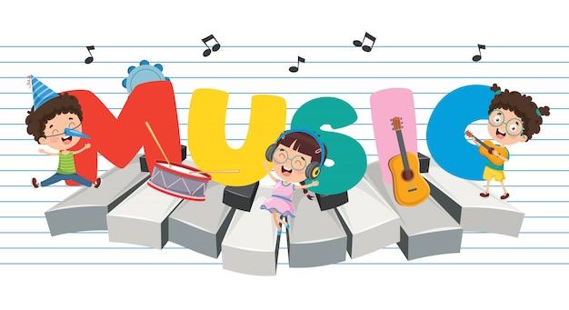 Ilustração em vetor de fundo de música de crianças