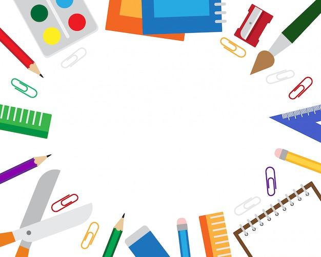Ilustração em vetor de fundo de quadro com artigos de papelaria e copyspace