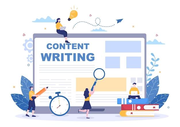 Ilustração em vetor de fundo de redator ou jornalista de conteúdo para redação, pesquisa, ideia de desenvolvimento e romance ou roteiro de livro em estilo simples