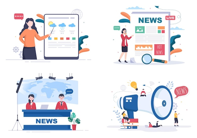 Ilustração em vetor de fundo de repórter de notícias de última hora com radiodifusor ou jornalista no monitor sobre informações de incidentes, atividades, clima e anúncios