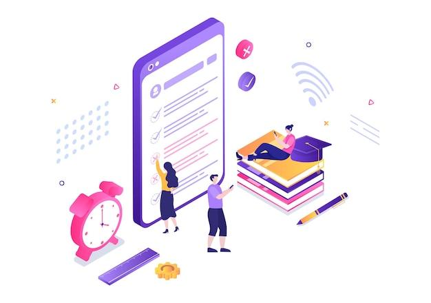 Ilustração em vetor de fundo de teste on-line com lista de verificação, exame, escolha de resposta, formulário, e-learning e conceito de educação