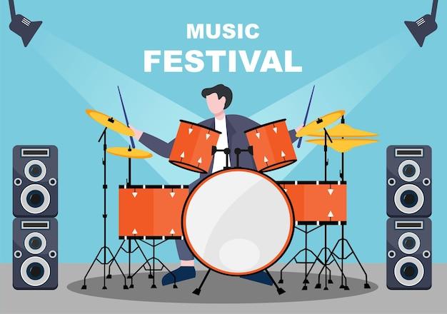Ilustração em vetor de fundo do festival de música com instrumentos musicais e apresentação de canto ao vivo para modelo de pôster, banner ou brochura
