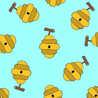Ilustração em vetor de fundo padrão de abelha