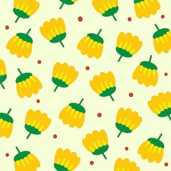 Ilustração em vetor de fundo padrão de flores amarelas