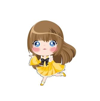 Ilustração em vetor de garota japonesa de beleza de mangá