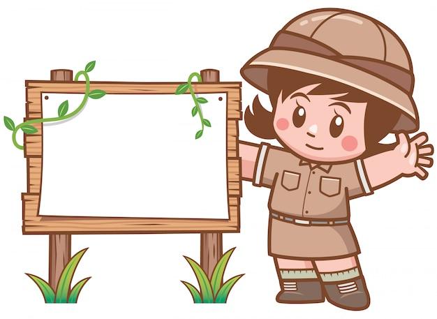 Ilustração em vetor de garota safari em pé com placa de madeira