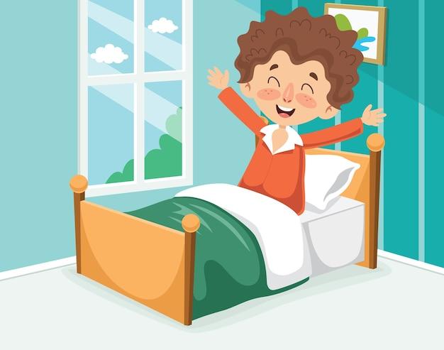 Ilustração em vetor de garoto acordando