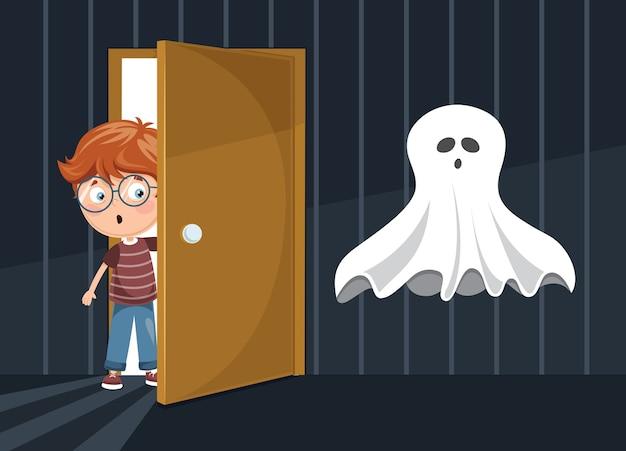 Ilustração em vetor de garoto assustando