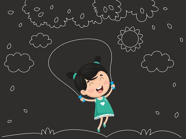 Ilustração em vetor de garoto balançando