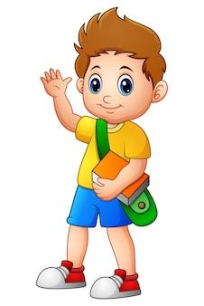 Ilustração em vetor de garoto bonito ir para a escola