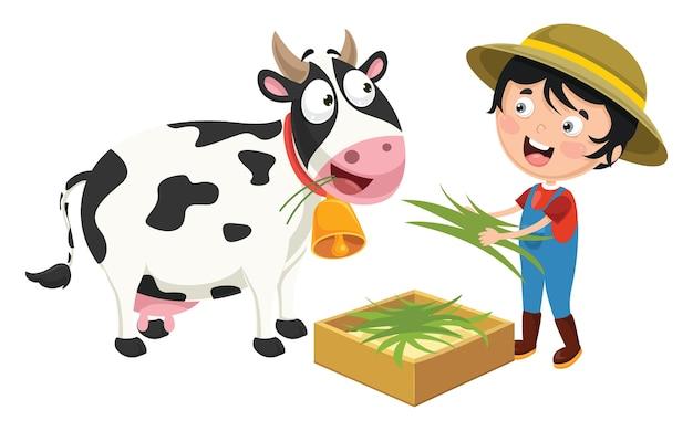 Ilustração em vetor de garoto de fazenda