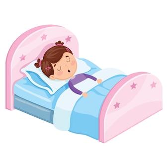Ilustração em vetor de garoto dormindo