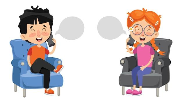 Ilustração em vetor de garoto falando no telefone