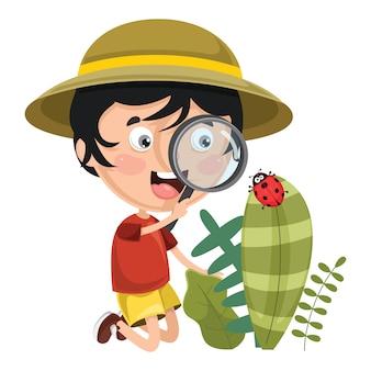 Ilustração em vetor de garoto usando lupa