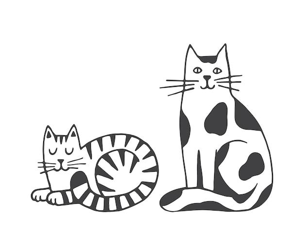 Ilustração em vetor de gatos isolada no fundo branco animais domésticos, animais de estimação clipart desenhado à mão