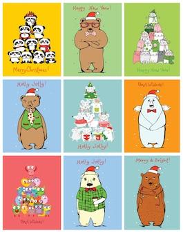 Ilustração em vetor de gatos, ratos, porcos e cães de natal com saudações de natal e ano novo. bichinhos fofos com chapéus festivos em estilo simples