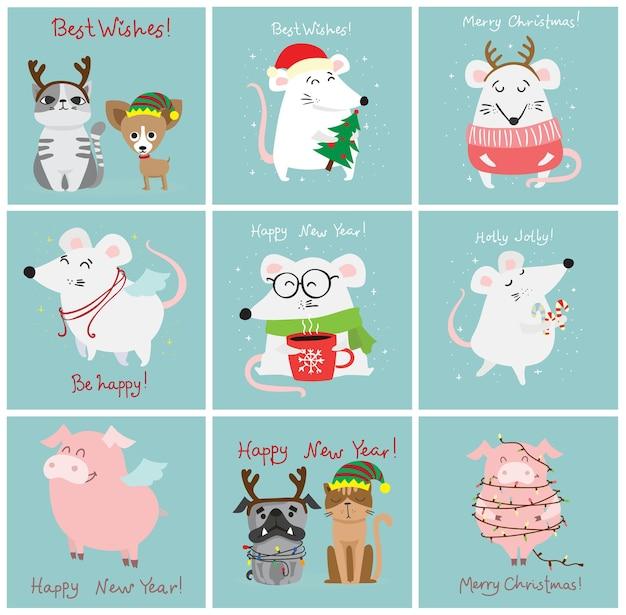 Ilustração em vetor de gatos, ratos, porcos e cães de natal com saudações de natal e ano novo. bichinhos fofos com chapéus festivos
