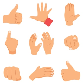 Ilustração em vetor de gestos de mão