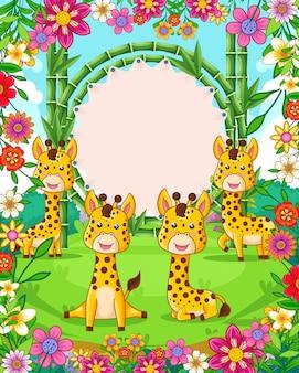Ilustração em vetor de giros girafas com sinal em branco de bambu no jardim