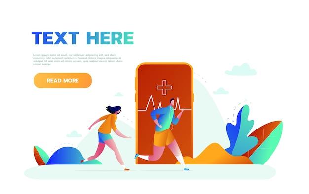 Ilustração em vetor de grande smartphone com aplicativo de rastreamento de atividade física para exercícios, corrida e pequenas pessoas praticando esportes