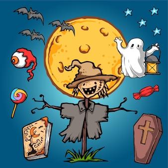 Ilustração em vetor de halloween de coroa de susto
