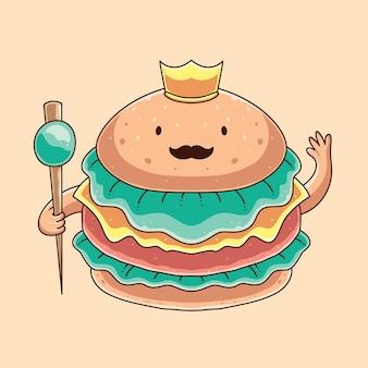 Ilustração em vetor de hambúrguer fofo