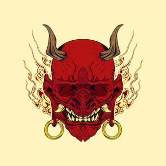 Ilustração em vetor de hannya, o demônio tradicional japonês, máscara oni vermelha