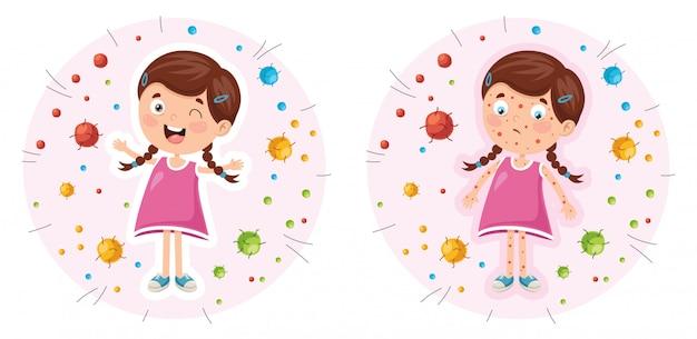 Ilustração em vetor de higiene infantil
