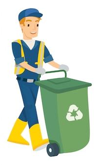 Ilustração em vetor de homem empurrar a lata de lixo