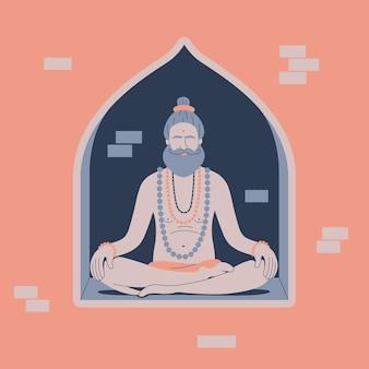 Ilustração em vetor de homem sagrado sadhu hindu