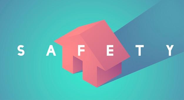 Ilustração em vetor de ícone de segurança em casa