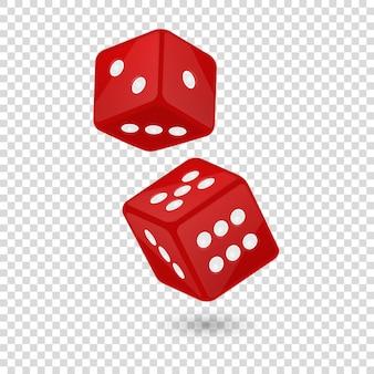 Ilustração em vetor de ícone vermelho de dados de jogo realista em voo close up isolado no fundo de grade de transparência. modelo de design de jogos de azar de cassino para app, web, infográficos, publicidade, simulação etc.