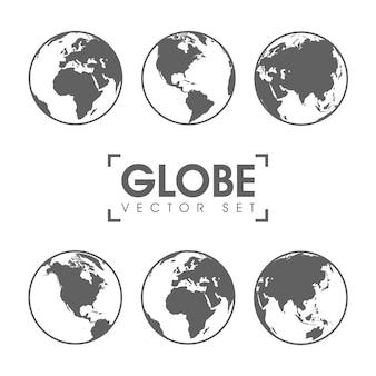 Ilustração em vetor de ícones de globo cinza com diferentes continentes.
