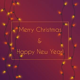Ilustração em vetor de iluminação colorida guirlanda com cartão de feliz natal e feliz ano novo.