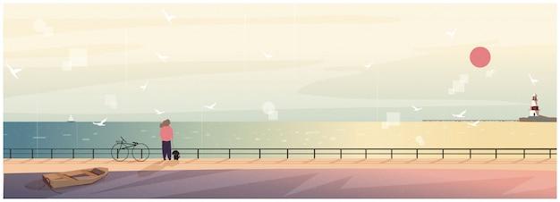 Ilustração em vetor de imagem primavera ou verão da paisagem escandinava ou nórdica à beira-mar.