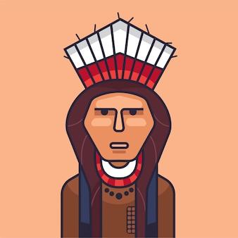 Ilustração em vetor de índio vermelho bonito. índios americanos dos desenhos animados