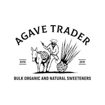 Ilustração em vetor de inspiração do logotipo vintage do mexicano agave trader