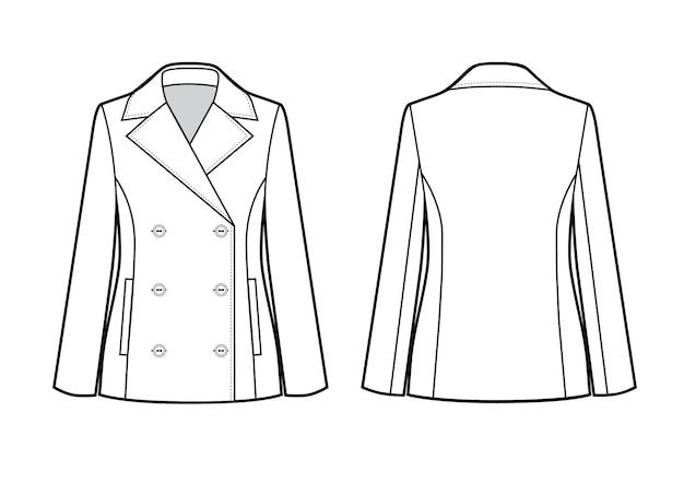 Ilustração em vetor de jaqueta clássica feminina. frente e verso