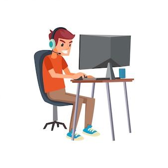 Ilustração em vetor de jogador de esportes eletrônicos