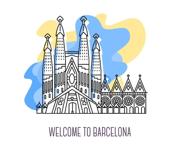 Ilustração em vetor de la sagrada familia. marco de barcelona. símbolo da espanha. pontos turísticos da europa.