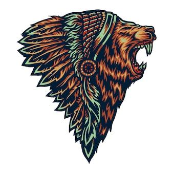 Ilustração em vetor de leão nativo americano