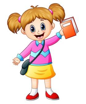 Ilustração em vetor de linda garota ir para a escola, segurando um livro