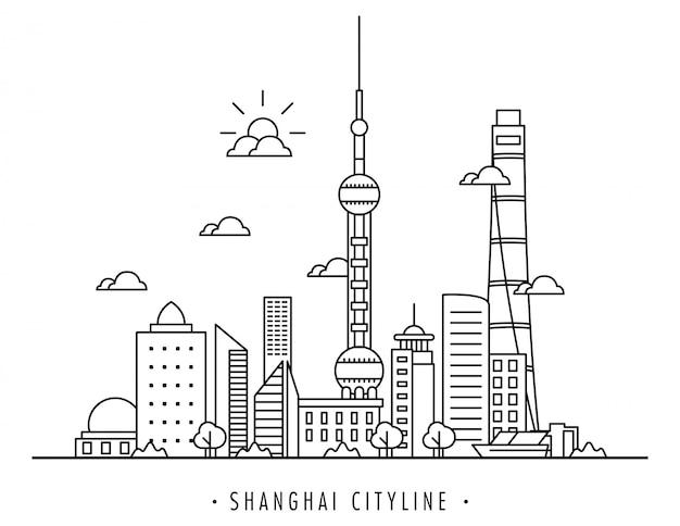 Ilustração em vetor de linha da cidade