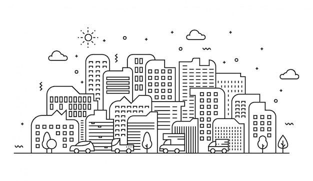 Ilustração em vetor de linhas da paisagem urbana