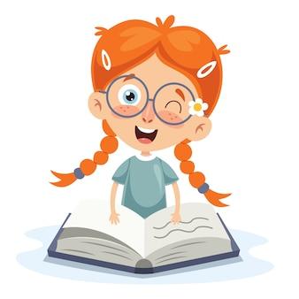 Ilustração em vetor de livro de leitura de criança