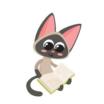 Ilustração em vetor de livro de leitura gato engraçado siamês dos desenhos animados