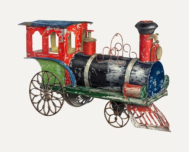 Ilustração em vetor de locomotiva de brinquedo vintage, remixada da obra de arte de charles henning