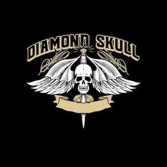 Ilustração em vetor de logotipo de asas de caveira de diamante