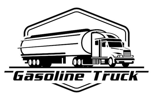 Ilustração em vetor de logotipo de caminhão de gasolina