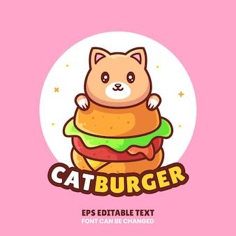 Ilustração em vetor de logotipo de hambúrguer de gato fofo logotipo de fast food premium em estilo simples para caf